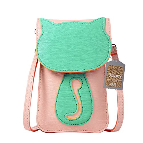 Bosam Cell phone bag with Cute Cat Pattern Touch Screen window cross body Pouch purse for Girl(Plum) by Bosam