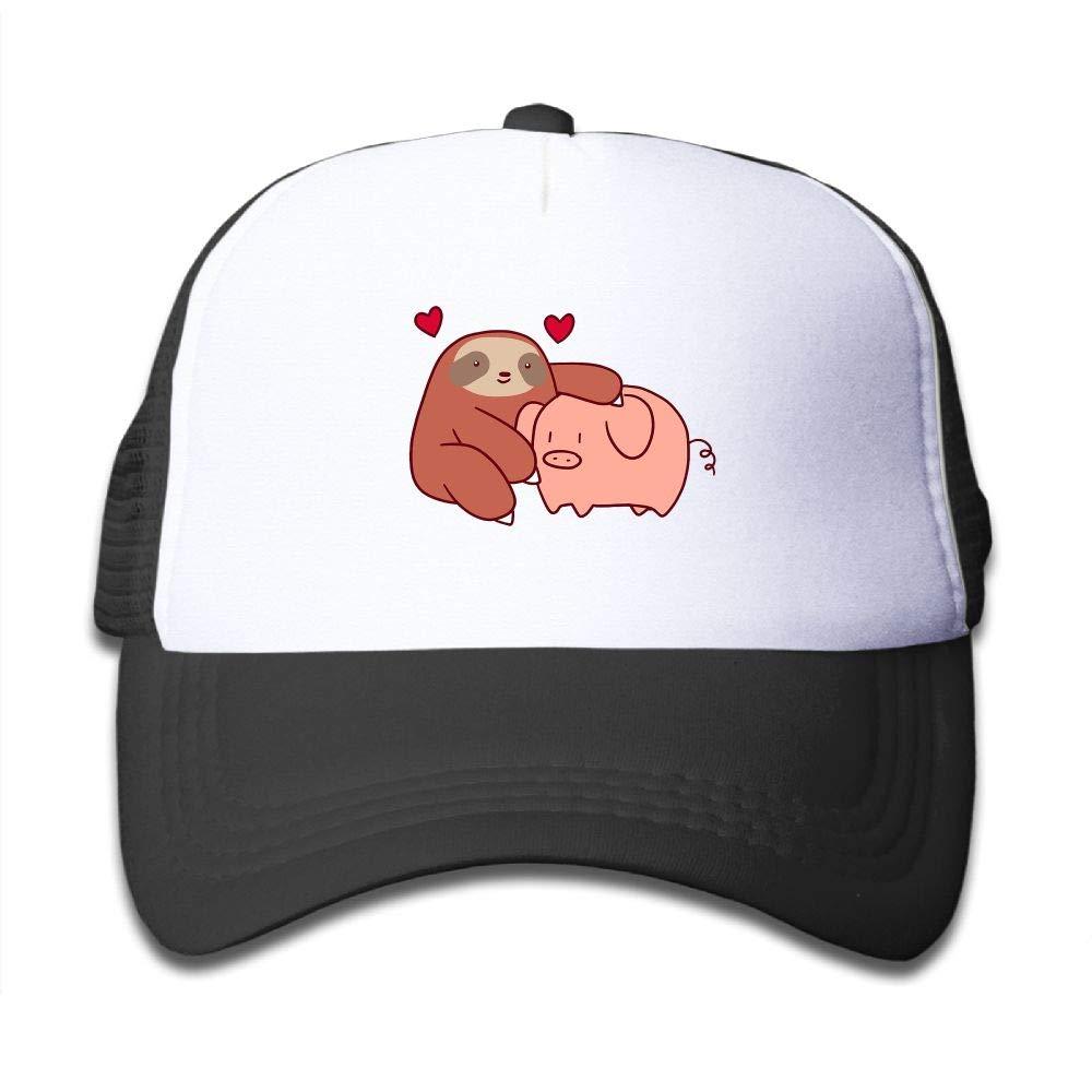 Clarissa Bertha Sloth Loves Pig Kids Boys' Girls' Baseball Caps Mesh Hats