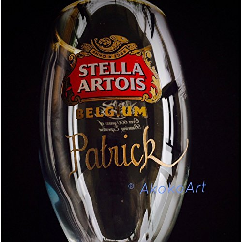 Stella Artois Chalice Engraving, STELLA CHALICE 40CL, chalice engraving, stella artois engraved, engraved beer glasses, Personalized Chalice Hand Engraved Free hand by Akoko Art Handengraved Crystal Glass (Image #3)
