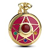 Women Gold Anime Quartz Pocket Watch Rhinestone Cartoon Star Fob Watch with Chain Gift (star)