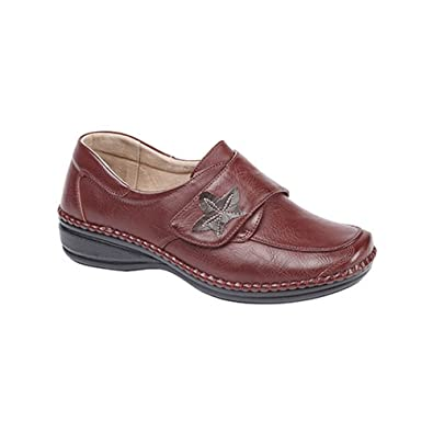10d25b8373f Womens Ladies Extra Wide EEE Fit Velcro Casual Shoes Size 3 - 8 DARK RED  (5)  Amazon.co.uk  Shoes   Bags