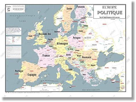 Affiche 60x80CM G/éoReflet Carte Europe Politique et Union Europ/éenne