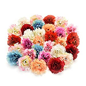 Flower heads in bulk wholesale for Crafts Silk Artificial Carnation Cherry Blossoms Flower Head Wedding Home Decoration DIY Corsage Wreath Fake Flowers Party Birthday Decor 30pcs 5cm (Colorful) 1
