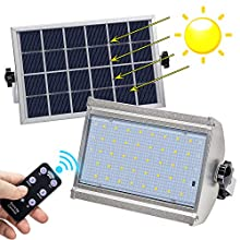 Solar Lights Outdoor, KUFUNG IP65 Waterproof Motion Sensor Flood Light, LED Wireless Security Lights with Remote Control, 800 Lumens LED Solar Lamp for Shed, Yard, Fence, Patio, Gutter, Street
