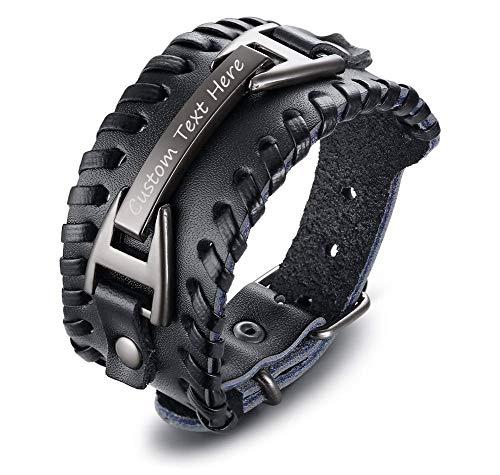 Custom Jewelry Cool (XUANPAI Cool Adjustable Buckle Handmade Wide Belt Custom Engraving Leather Bracelet Cuff Bangle for Men Boys)