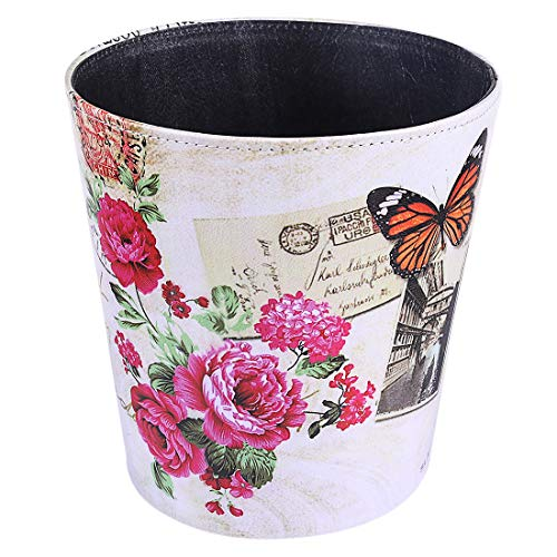 (Haoun Wastebasket,10L/2.6 Gallon Retro Style PU Trash Can Waterproof Garbage Can - Butterfly )