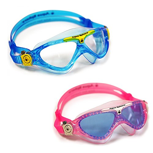 Aqua Sphere Vista Junior 2 Pack Swim Goggles, Pink and White with Blue Lens, and Blue and Yellow with clear lens (Clear Vista Lens)