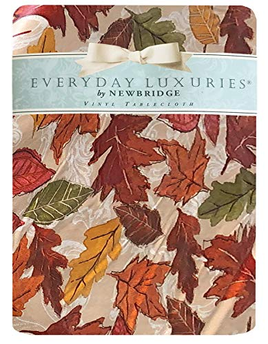 Newbridge Falling Leaves Autumn and Thanksgiving Print Vinyl Flannel Backed Tablecloth, Fall Season Contemporary Leaf Print Tablecloth, (60 Inch x 84 Inch Oval)