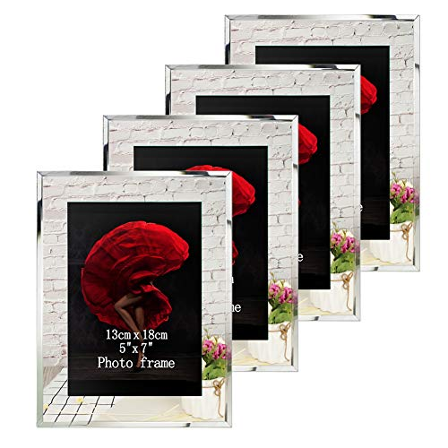 Picture Frames 5x7 Mirrored Edge Glass 4pcs Vertical Horizontal Desk Tabletop Standing Multi 7x5 Photo Frame Bulk Set