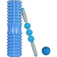 Rodillo de Yoga,Foam Roller,Rodillos de Espuma para Ejercicios musculares Foam Roller Kit con Rejilla de Liberación Miofascial, 3-en-1 Kit de Rodillo Masaje Muscular con Rodillos de Espuma