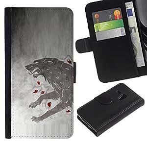 KLONGSHOP // Tirón de la caja Cartera de cuero con ranuras para tarjetas - GOT Lobo - Samsung Galaxy S3 MINI 8190 //