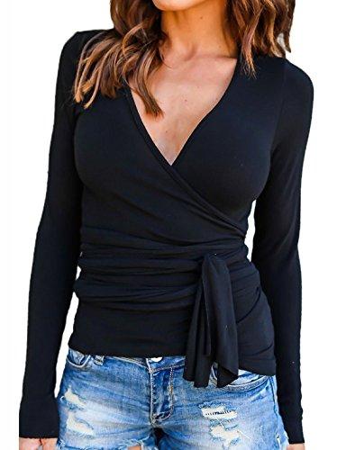 Manches V Chemisiers Moderne Shirts Blouse Longues Profond Couleur Haut Femme Unie Sexy Slim Bandage Col Tops Noir Shirt T q0qrI