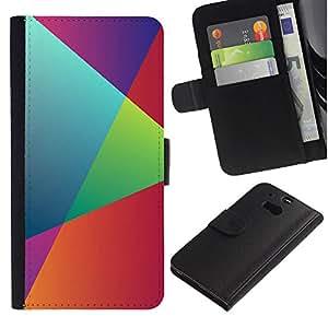 // PHONE CASE GIFT // Moda Estuche Funda de Cuero Billetera Tarjeta de crédito dinero bolsa Cubierta de proteccion Caso HTC One M8 / Rainbow Geometry /