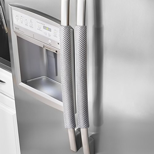 "Price comparison product image Ougar8 Refrigerator Door Handle Covers Handmade Decor Protector for Ovens, Dishwashers.Keep Your Kitchen Appliance Clean From Smudges,Food Stains(Rhombus Gray,12"" L4 W)"