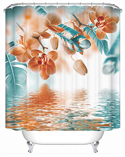 Maxwelly Orchid Shower Curtain Water Reflection Tropical Flower Bathroom Shower Curtain Waterproof Bath Curtain Sets with Hooks, 72 x 72 Inch, Teal and Orange (Orange Curtains For Bathroom)