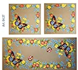 BUTTERFLIES & FLOWERS TABLE TOPPER & PILLOWS NEEDLEPOINT CANVAS FROM GOBELIN L #04.37