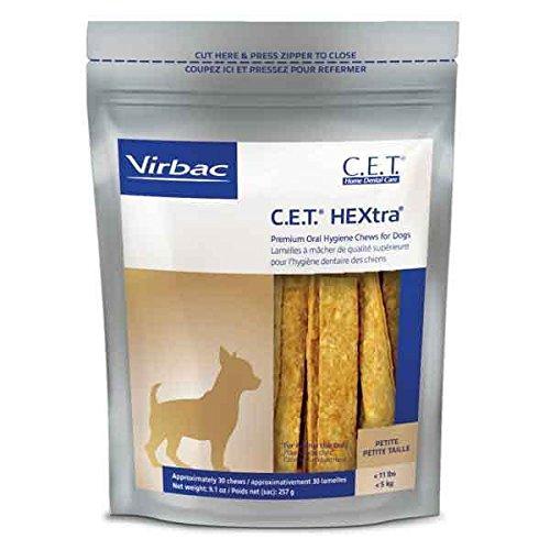Hextra Premium Dental Chews - C.E.T. HEXtra Premium Oral Hygiene Chews For Dogs 30ct Treat Bags - Choose Size(Petite - Dog Less than 11lbs)