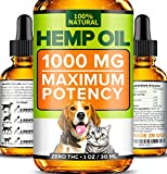 Image of Hemp Oil for Dogs and Cats - 1000mg - Premium Hemp Extract - Advanced Formula - Grown & Made in USA - Omega 3, 6 & 9 - Supports Hip & Joint Health, Natural Relief for Pain, Separation Anxiety