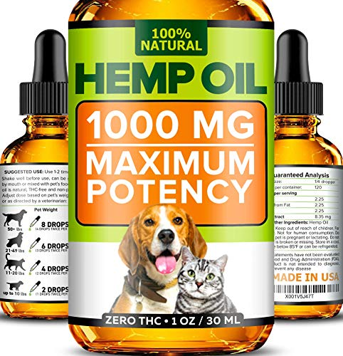 (Hemp Oil for Dogs and Cats - 1000mg - Premium Hemp Extract - Advanced Formula - Grown & Made in USA - Omega 3, 6 & 9 - Supports Hip & Joint Health, Natural Relief for Pain, Separation Anxiety)