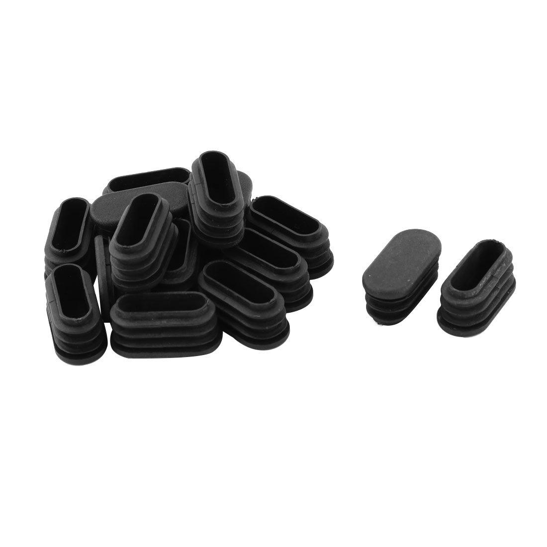 sourcingmap Scuola ovale in plastica sedia gamba coperchio piede inserto tubo nero 32 x 15mm 15 pz a17042900ux0789