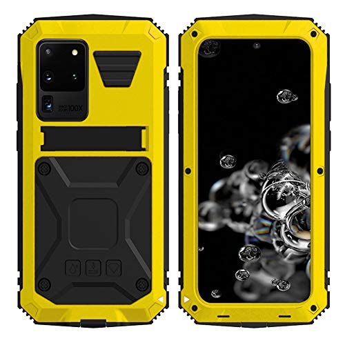 HATA Samsung S20 Plus Metal Rugged Military Hybrid case Silicone Defense S20 Plus Heavy Duty case with Screen Protector Stand Tough Full Body case for Man Gift (Yellow, S20 Plus)