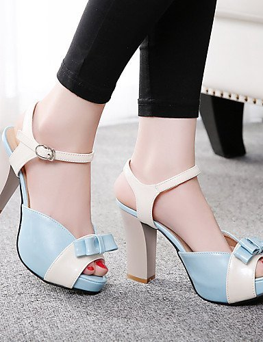 ShangYi Women's Shoes Heel Heels / Peep Toe / Platform Sandals / Heels Outdoor / Dress / Casual Blue / Green / Pink / Red Green 0eyUlpQ