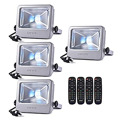 LOFTEK 30W LED Flood Light, RGB Spotlight with Remote Control, IP66 Protection and UL Listed Plug, 16 Colors Changing and 6 Levels Adjustable Brightness for Outdoor Decoration, Silver, Pack of 4