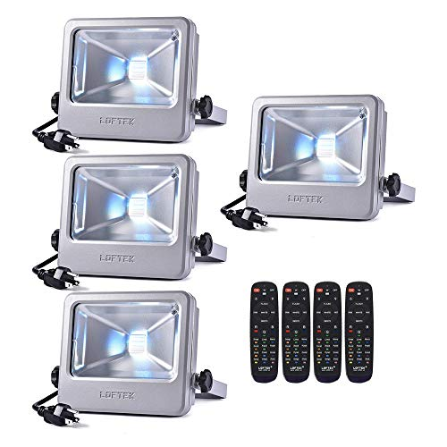 LOFTEK RGB Flood Light, 50 watts LED Security Floodlight, UL Listed Plug, 16 Colors Changing and 6 Levels Adjustable Brightness Outdoor Light, NOVA S Series, Silver (Silver 4-Pack)