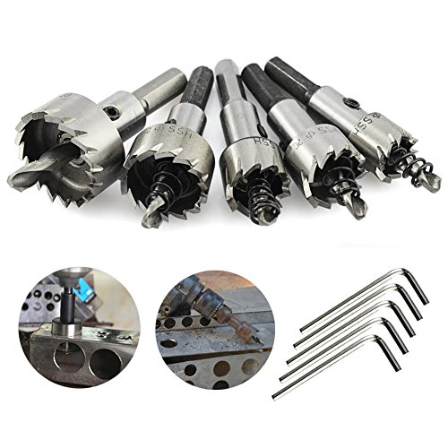5PCs HSS Drill Bit Hole Saw Set Stainless Steel Metal Alloy 16-30mm - 6