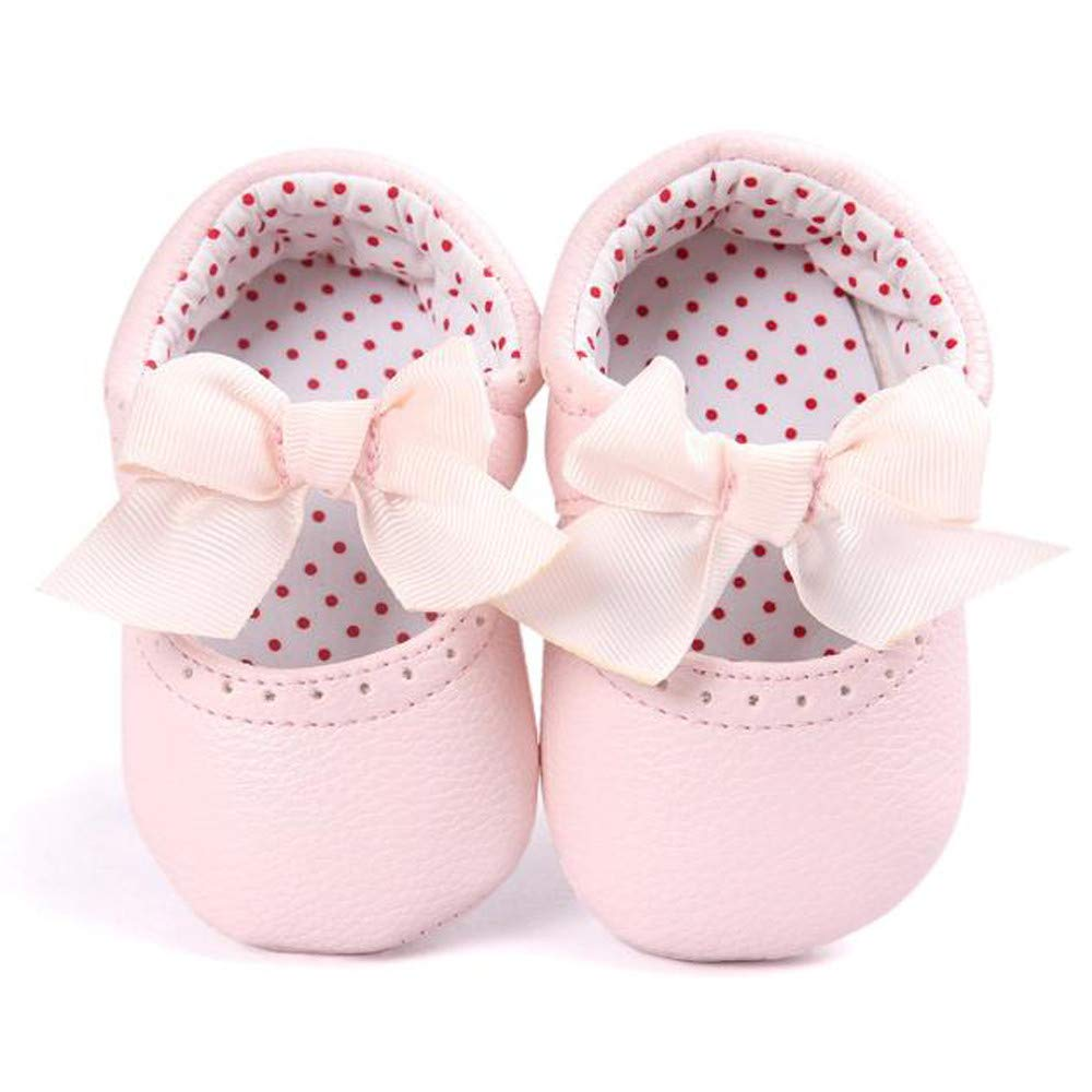 Lanhui Toddler Baby Girl Bowknot Leater Shoes Sneaker Anti-Slip Soft Sole Pink