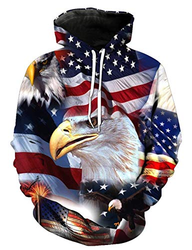 UNIFACO Men Women America Flag 3D Bald Paint Eagle Graphic Pullover Printed Pockets Hoody Sweatshirts Small