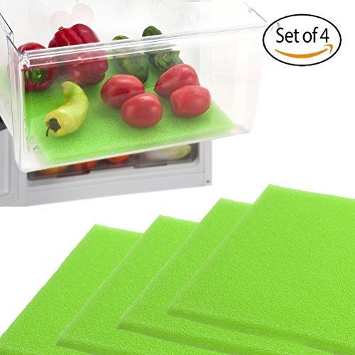 Dualplex Fruit & Veggie Life Extender Liner for Refrigerator Drawers (4 Pack) – Extends the Life of Your Produce & Prevents Spoilage, 13 X 10.5 Inches