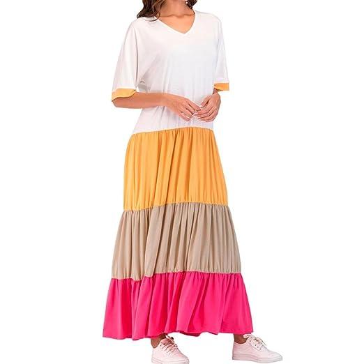 f65859041cf DEATU Comfy Women Casual Loose Striped Half Sleeve Bohe Long Dress Kaftan  (S