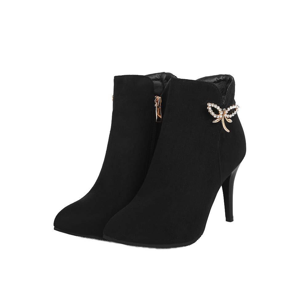 Shirloy Damen Stiefel Herbst und Winter Feine Fersen Nieten Große Martin Stiefel Niedriger Schlauch Wildleder Stiefel Damenschuhe  | Großhandel