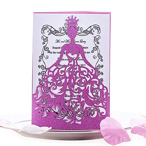 KAZIPA 25PCS Laser Cut Wedding Invitations + White Inside Paper + Envelopes, 4.7'' x 7'' Invitations for Bridal Shower Quinceanera Favor Birthday Bachelorette Party, Pink (Pink)