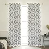 Best Home Fashion Reverse Moroccan Faux Silk Blackout Curtain – Stainless Steel Nickel Grommet Top - Grey - 52