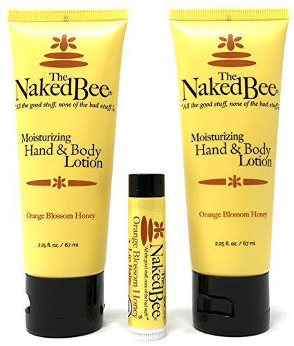 (The Naked Bee Orange Blossom Honey Lotion and Lip Balm Set - Hydrating, Moisturizing, and Natural Skin Care Products Cruelty)