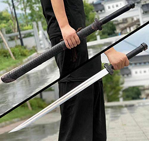(Chinese Qing Dynasty Bodyguard Saber Kungfu Broadsword Sword Wushu Da Dao HRC60 Spring Steel Blade Sharp for Cutting Outdoors Hunting Broad Knife)