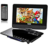 10.1' Portable DVD Player,KSHOP DVD Player 270° Swivel Screen,TV Games Console with 300 Classic Games,5 Hour Battery 1024 800 TFT LED HD Multiformats Support SD Card Slot and USB Port Black