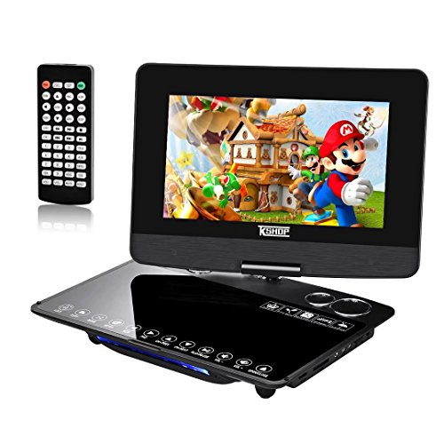 "10.1"" Portable DVD Player,KSHOP DVD Player 270° Swivel Screen,TV Games Console with 300 Classic Games,5 Hour Battery 1024 800 TFT LED HD Multiformats Support SD Card Slot and USB Port Black"
