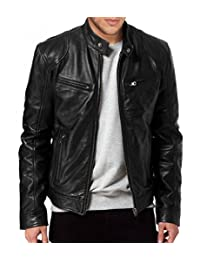 Leather Bomber Men's Outwear Jacket Biker Motorcycle Slim Fit