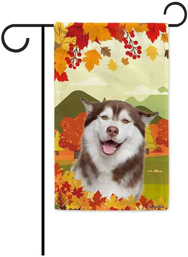 BAGEYOU Hello Fall in The Countryside with My Love Dog Husky Decorative Garden Flag Autumn Maple Leaf Banner for Outside 12.5X18 Inch Printed Double Sided