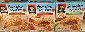 upc 095945113380 product image for Quaker Breakfast Squares Soft Baked Bars Baked Apple Cinnamon, Peanut Butter, & Strawberry - 5 CT (PACK OF 3) | barcodespider.com
