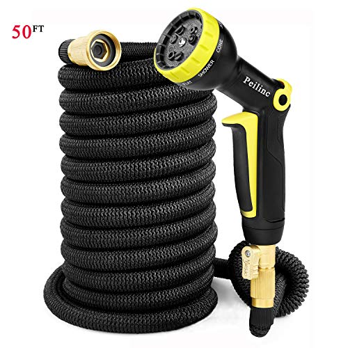 50FT Expandable Garden Hose Black – 17FT Hoses Expandable Up to 50FT, Double Latex Inner Tube Anti-Burst, Solid Brass Anti-Leak, Polyester Fabric Anti-Kink, 9-Mode High Pressure Spray Nozzle (50FT)