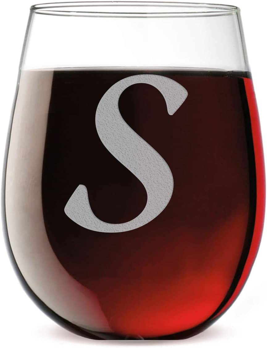 Etched Monogram 17oz Stemless Wine Glass (Letter S)