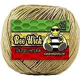 Bee Wick Hemp 420ft Spool of 100% Organic Hemp Wick, Waxed by Hand in The USA with American Beeswax (1.0mm)