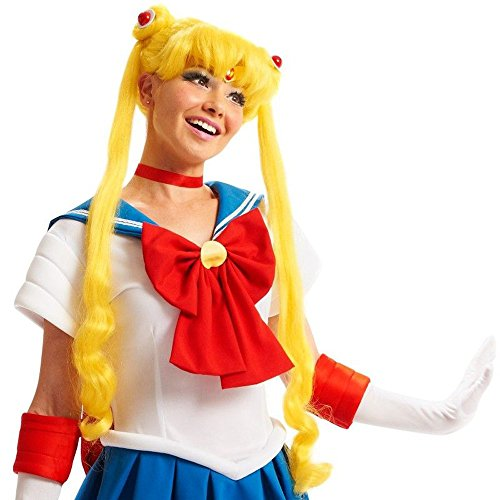 Moon Sailor Costume Tuxedo Mask (Sailor Moon Girls Child Kids Cosplay Anime Cartoon Costume Yellow Blonde Wig One)