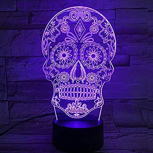 SHENNOSI 3D Skull Lamp Easter Gift Arabesque Multicolor Desk LED USB Button Light 7 Color Change by SHENNOSI