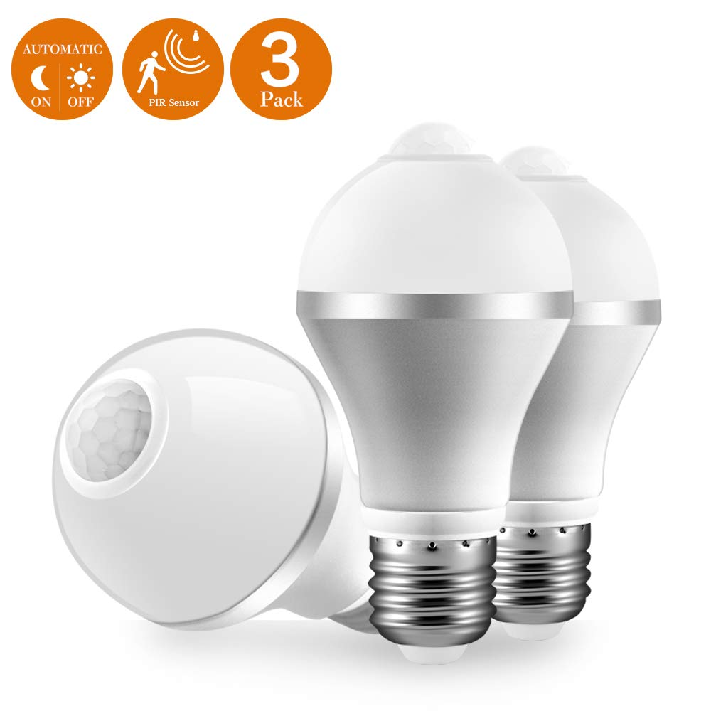 Motion Sensor Light Bulb Dusk to Dawn Smart Motion Detector LED Bulb Human Body Induction Lamp with Auto On/Off 9W E26/E27 800LM 6500K Cool White for Stair Front Door Hallway Basement 3 Packs