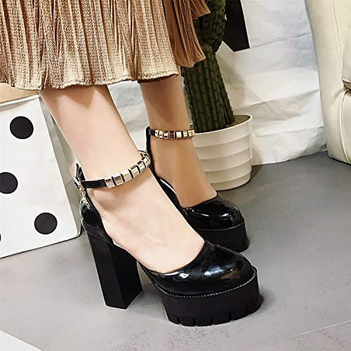 Shoes Shoe Spring Summer Waterproof Women Metal Word Antiskid Heel Shoes Woman Buckle Platform 11Cm Heel One Women'S High gules Single Thick KPHY g60xZH5qwq